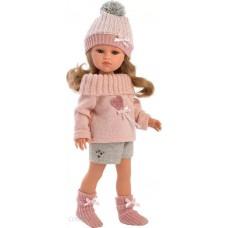 Игровая Испанская Кукла Llorens Daniela Даниэла из винила, в вязаном свитере, шортах с шапочкой и шарфом, 37см