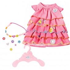 Детская Игровая Одежда для куклы Бэби Борн Платье летнее розовое с рюшами и рисунком Baby born Zapf Creation