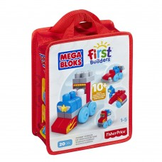 Детский Игровой Набор Конструктор Веселые машинки с крупными деталями в сумке на молнии 20 деталей Mega Bloks