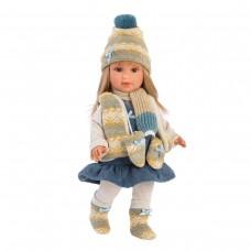 Детская Игровая Испанская Подвижная Кукла для девочек Тина блондинка в синем платье 40 см Llorens из винила