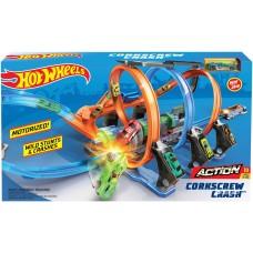 Игровой Трек Хот Вилс Невероятные виражи Скоростные гонки с 3 ускорителями - Hot Wheels Corkscrew Crash Track