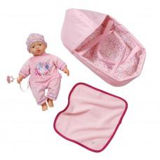 Детский Игровой Пупс в люльке-переноске с одеялом и соской в розовом костюме Беби Борн Baby Born Zapf Creation