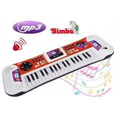 Детский Развивающий Музыкальный Синтезатор: слот для наушников, подставка для MP3-плеера, белый-красный, Simba