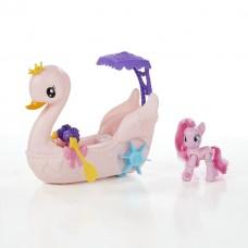 Детский Игровой набор для Девочек My Little Pony - Пинки Пай на лодке в виде розового лебедя с веслами и зонтом