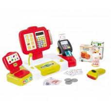 Детский Игровой Электронный Кассовый аппарат, световые и звуковые эффекты, микрофон и сканер, красный, Smoby