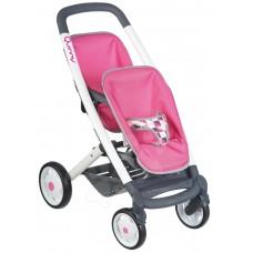 Детская Игровая Кукольная Коляска розовая для близнецов с черной корзиной Maxi Cosi Quinny Smoby Смоби