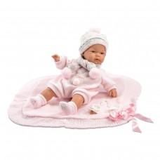 Игровая Испанская Кукла Llorens малышка Джоэль из винила плачущий, в розовом костюме с одеялом и соской, 38см