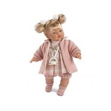 Игровая Испанская Говорящая виниловая Кукла Llorens Arianna Арианна плачущая в розовом платье и пальто, 33см