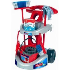 Игровой набор для девочек Тележка для уборки: ведро с отжимом, щетки, швабра, совок, пульверизатор, Klein