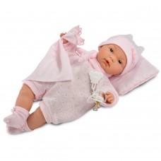 Детская Игровая Испанская кукла Ллоренс Малышка Жоэль 35 см в розовой пижамке с одеялом и подушкой Llorens