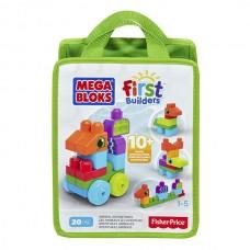 Детский Игровой Конструктор для мальчиков Приключения животных с большими 20 деталями и колесами Mega Bloks