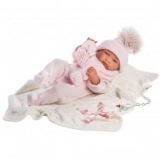 Игровая Испанская Кукла Llorens малышка Тина виниловая в розовом комбинезоне, шапке и шарфе, с одеялом 43см