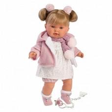 Игровая Испанская Кукла Llorens Александра из винила плачущая в белом платье и вязаной кофте с капюшоном, 42см