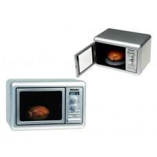 Детская Игрушечная Микроволновая печь с подсветкой, звуком, таймером, вращается поддон серебристая - Miele Klein