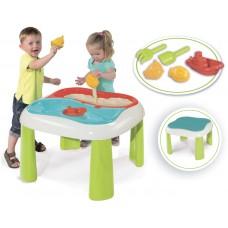 Детский Игровой стол 2в1 для игры с песком и водой 69х69х46см 2 съемные емкости с крышками, фигурки Smoby Toys