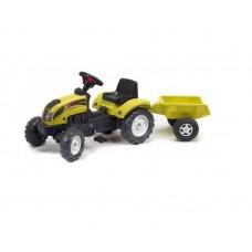 Детский Педальный Трактор с прицепом Ranch Trac Falk, со звуковыми эффектами, клаксоном, 133х54х42 см, ЖЕЛТЫЙ 58332-14 tst-294312648