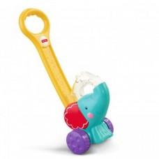 Детская Развивающая Игрушка-каталка Слоненок голубой со световыми эффектами-шариками 50 см Fisher-Price