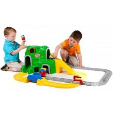 Большой Детский Разборный Игровой Набор Железнодорожный комплекс с горкой, мостом и транспортом Little Tikes