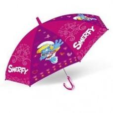 Детский Прочный Механический Зонтик для девочек с удобной ручкой фиолетовый со Смурфиками Starpak Старпак 45см