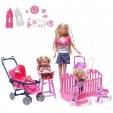 Игровой набор с Куклой Штеффи и тремя детьми, кроваткой, стульчиком и коляской - Steffi Love Baby World Simba