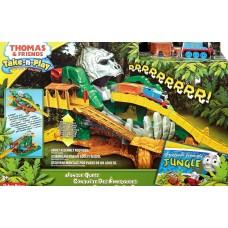 Детский Игровой Набор Томас и его друзья с голубым паровозиком, вагонами и горками Приключения в джунглях