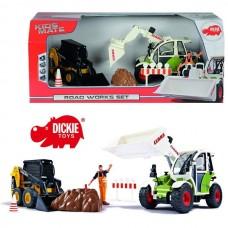 Детский Развивающий Набор техники для мальчиков Экскаватор и Погрузчик, фигурка строителя, знаки, Dickie Toys