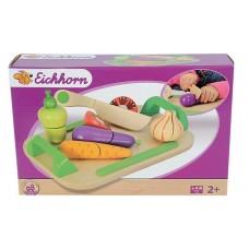Детский Игровой Развивающий Деревянный Набор Доска для нарезки с ножом, разрезанные овощи на липучках - Eichhorn
