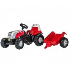 Детский Педальный Трактор рулем и широкими рельефными колесами с багажным отсеком Kid Steyr Rolly Toys