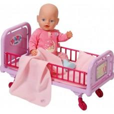 Детская Игровая Кроватка для куклы на колесах с одеялом и подушкой розовая Беби Бон Baby Born Zapf Creation