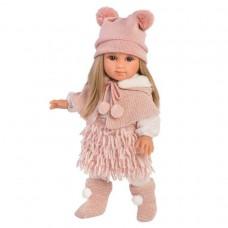 Игровая Испанская Кукла Llorens Elena малышка Елена из винила с розовой накидкой и шапкой с помпонами, 35см