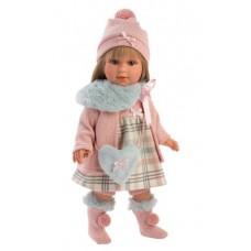 Игровая Испанская Кукла Llorens Marnina/Tina из винила в светлом платье в клетку с сапожками и сумочкой, 40см