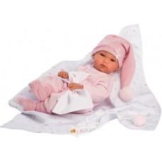Игровая Испанская Кукла Llorens малышка Бимба из винила в розовом комбинезоне с одеялом со звездами, 35см