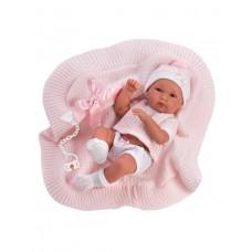 Игровая Испанская Кукла Llorens Bimba младенец Бимбо из винила, в вязаном костюме с розовым одеялом, 35 см