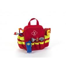Детский Развивающий Игровой Набор Спасателя в красной сумке с ручкой со стетоскопом и градусником Klein