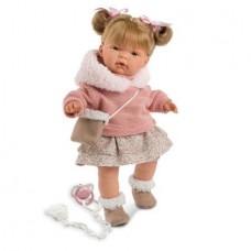 Детская Игровая Испанская Подвижная Говорящая Кукла для девочек Жоэлле с соской 38 см Llorens из винила