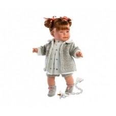 Детская Игровая Испанская Подвижная Говорящая кукла Ллоренс Амелия 42см в кофте и платье с соской Llorens Juan