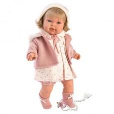 Детская Игровая Испанская Подвижная Говорящая Кукла для девочек Карла с соской 42 см Llorens из винила