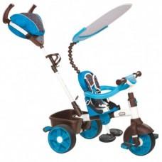 Детский Трехколесный Велосипед  4в1 с козырьком, съемной родительской ручкой, корзиной, голубой, Little Tikes
