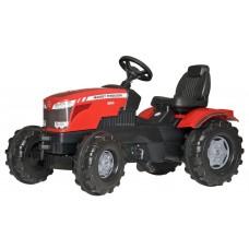 Детский Педальный Трактор с рулем и широкими рельефными колесами с багажным отсеком Massey Ferguson Rolly Toys 58333-14 tst-294312655