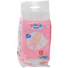 Детские Игровые Памперсы для куклы Бэби Борн в наборе 5 штук на липучках розовые Baby born Zapf Creation
