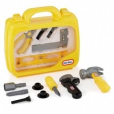 Детский Игрушечный Чемодан с безопасными инструментами желтый с прозрачной крышкой 13 предметов Little Tikes