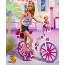 Детская Игровая Кукла Штеффи 29 см На белом Велосипеде со шлемом с пупсом в кресле Steffi Simba Симба