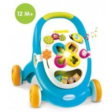 Детские Интерактивные Развивающие Ходунки Каталка со Светомузыкальным Игровым центром Голубые Walk&Play Smoby