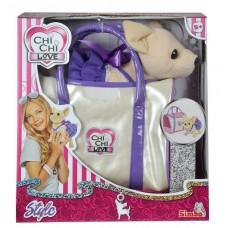 Игрушечная собачка в серебристой сумочке для девочек Чи Чи Лав Чихуахуа в фиолетовом платье - Chi Chi Love Simba