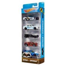 Игрушка Детская Для Мальчиков Подарочный Набор Машинок 5 штук Хот Вилс Batman Superman Stunt Team Hot Wheels