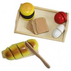 Детский Игровой Развивающий Деревянный Набор Поднос с ножом, досочкой, еда и продукты для пикника Happy People