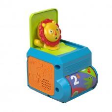 Развивающая Тактильная Игрушка для малышей Музыкальная шкатулка Львенок с сюрпризом со звуком, Fisher price
