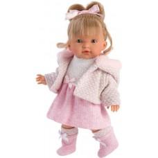 Игровая Испанская Кукла Llorens Валерия из винила, в вязаном розовом платье и куртке с меховым капюшоном, 28см