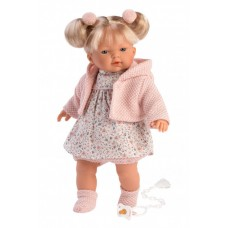 Игровая Испанская Кукла Llorens Роберта из винила плачущая в платье с цветочным принтом розовых шароварах 33см