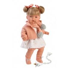 Игровая Испанская Говорящая виниловая Кукла Llorens Juan Joel - Жоель плачущая в светлом платье и кофте, 38см